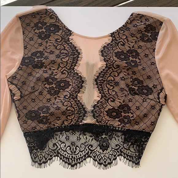 Lush Tops - Crop Top with black lace